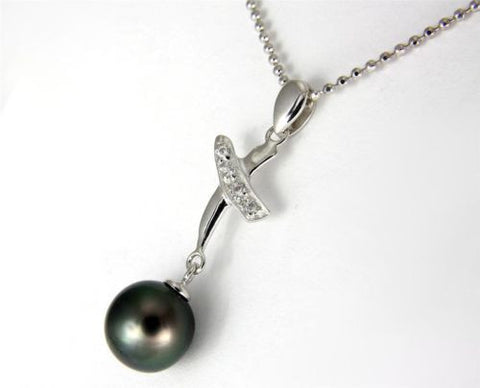 "8.90MM GENUINE TAHITIAN PEARL PENDANT SOLID 925 SILVER CZ (18"" CHAIN INCLUDED)"