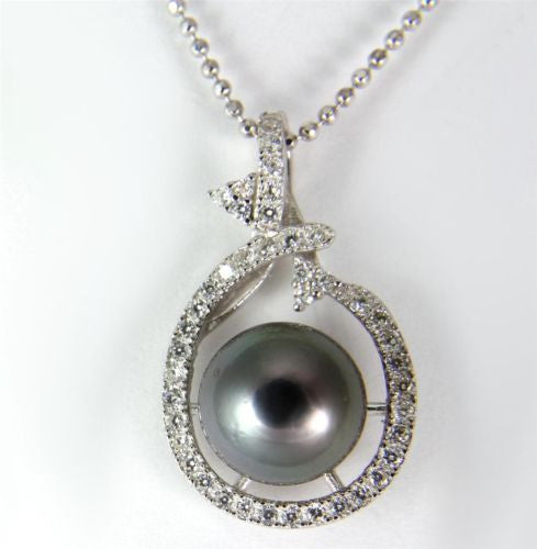 "9.60MM GENUINE TAHITIAN PEARL PENDANT SOLID 925 SILVER CZ (18"" CHAIN INCLUDED)"