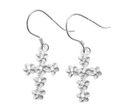 YELLOW ROSE GOLD PLATED RHODIUM SILVER 925 HAWAIIAN PLUMERIA CROSS HOOK EARRINGS