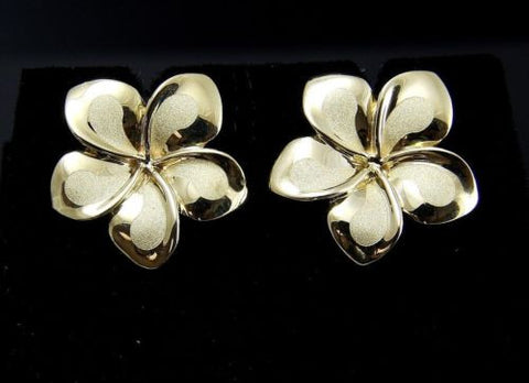 16MM SOLID 14K YELLOW GOLD HAWAIIAN FANCY PLUMERIA FLOWER STUD POST EARRINGS