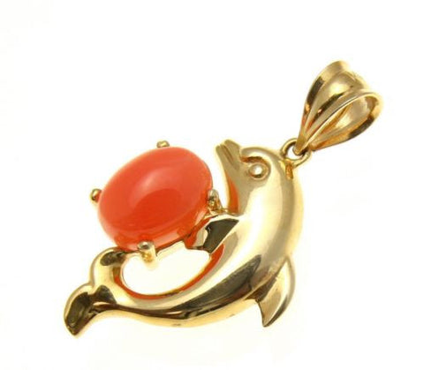 GENIUNE NATURAL PINK CORAL DOLPHIN PENDANT SET IN SOLID 14K YELLOW GOLD 14.50MM