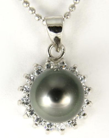 "8.65MM GENUINE TAHITIAN PEARL PENDANT SOLID 925 SILVER CZ (18"" CHAIN INCLUDED)"