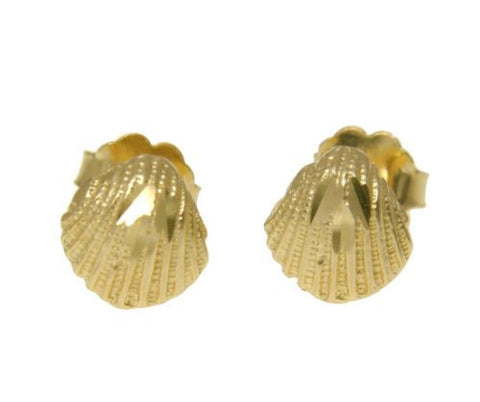 SOLID 14K YELLOW GOLD HAWAIIAN DIAMOND CUT SEA SHELL STUD EARRINGS SMALL 7.20MM