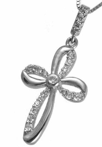 SOLID 14K WHITE GOLD SPARKLY CLEAR CZ FANCY SHINY CROSS PENDANT SMALL 12MM