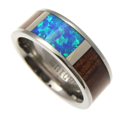 GENUINE HAWAIIAN KOA WOOD INLAY OPAL BAND RING TITANIUM COMFORT FIT 8MM