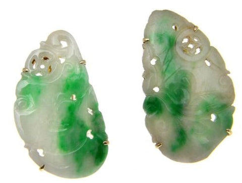antique natural not enhanced carved jade jadeite earrings 14k gold omega backs