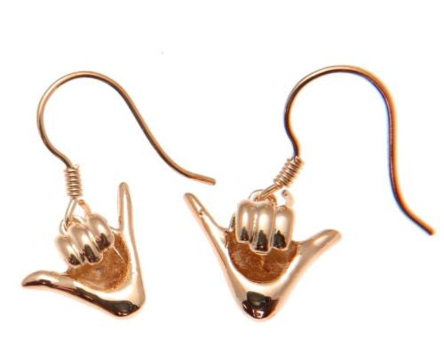 "ROSE GOLD PLATED SILVER 925 HAWAIIAN ""SHAKA"" HANG LOOSE HOOK LEVERBACK EARRING"