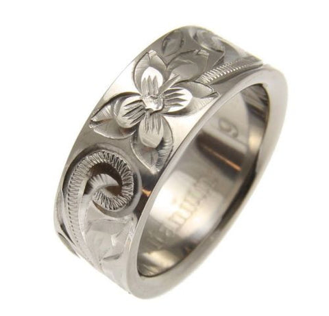 TITANIUM HAND ENGRAVED HAWAIIAN PLUMERIA SCROLL BAND RING 8MM