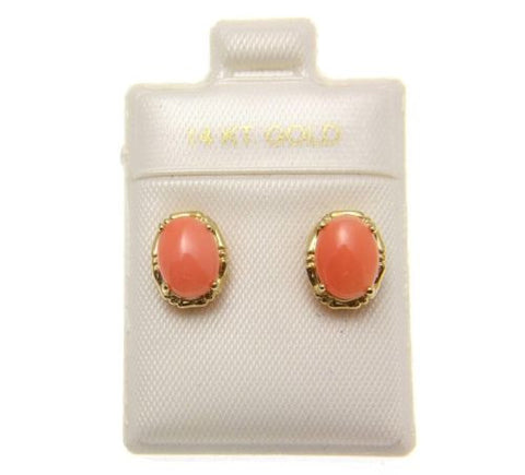 GENUINE NATURAL PINK CORAL STUD POST EARRINGS SOLID 14K YELLOW GOLD