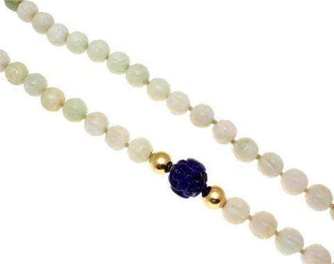 GENUINE NATURAL NOT ENHANCED CARVED JADEITE LAPIZ LAZULI 14K GOLD BALL NECKLACE