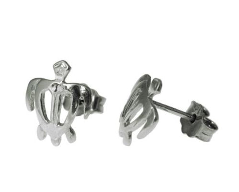 8.5MM SOLID 14K WHITE GOLD HAWAIIAN HONU TURTLE STUD POST EARRINGS SMALL