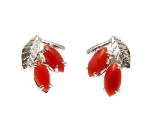 GENUINE NATURAL MARQUISE RED CORAL STUD POST EARRINGS LEAF SOLID 14K WHITE GOLD