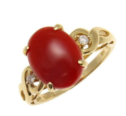 GENUINE NATURAL CABOCHON RED CORAL DIAMOND RING SET IN SOLID 14K YELLOW GOLD