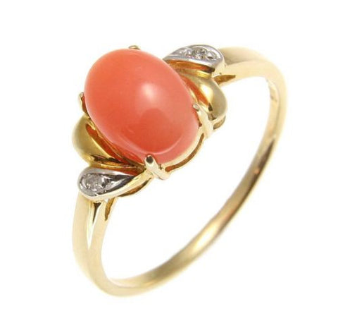 GENUINE NATURAL OVAL CABOCHON PINK CORAL DIAMOND RING IN SOLID 14K YELLOW GOLD