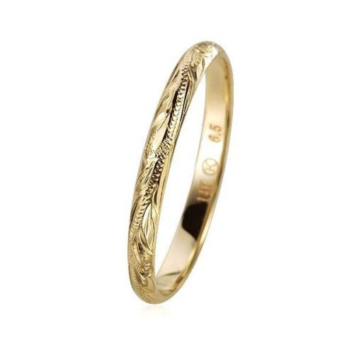 SOLID 14K YELLOW GOLD HAND ENGRAVED HAWAIIAN SCROLL BAND RING 3MM