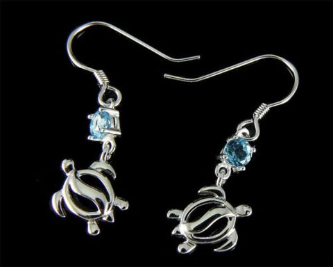 GENUINE BLUE TOPAZ SILVER 925 HAWAIIAN HONU TURTLE WIRE HOOK EARRINGS