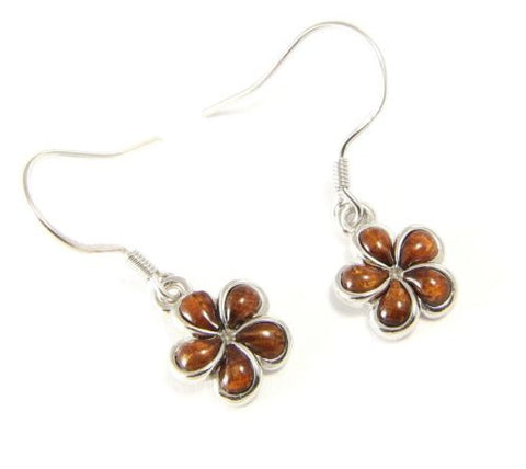 GENUINE INLAY HAWAIIAN KOA WOOD PLUMERIA FLOWER EARRINGS WIRE HOOK 925 SILVER