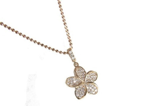 SOLID 14K ROSE GOLD SPARKLY BLING CZ HAWAIIAN PLUMERIA FLOWER PENDANT 13.5MM