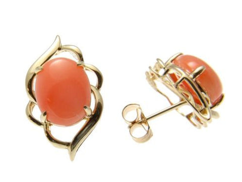 GENUINE NATURAL OVAL CABOCHON PINK CORAL STUD POST EARRINGS 14K YELLOW GOLD