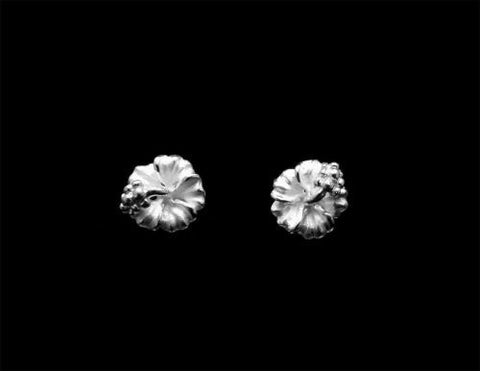 STERLING SILVER 925 HAWAIIAN HIBISCUS FLOWER STUD POST EARRINGS 6MM -15MM