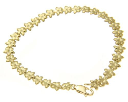 SOLID 14K YELLOW GOLD HAWAIIAN PLUMERIA FLOWER BRACELET DIAMOND CUT 6MM 7""