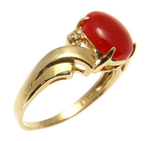 GENUINE NATURAL NOT ENHANCED OVAL RED CORAL DIAMOND RING SOLID 14K YELLOW GOLD