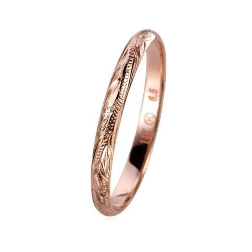 SOLID 14K ROSE GOLD HAND ENGRAVED HAWAIIAN PLUMERIA SCROLL BAND RING 3MM
