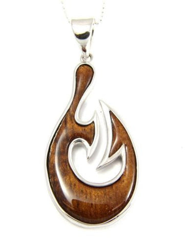GENUINE INLAY HAWAIIAN KOA WOOD FANCY FISH HOOK PENDANT SILVER 925 LARGE 22MM