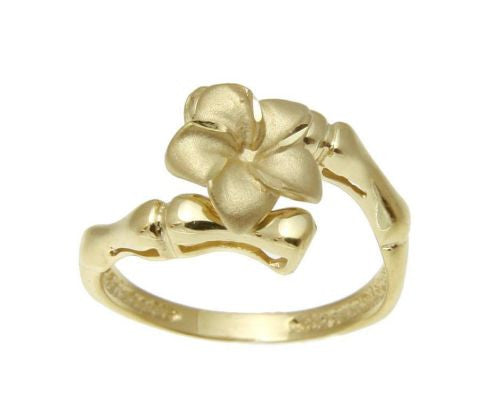 SOLID 14K YELLOW GOLD HAWAIIAN 10MM PLUMERIA FLOWER RING BAMBOO DESIGN