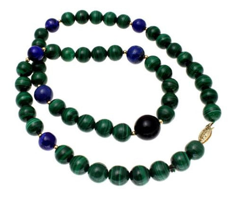 GENUINE MALACHITE LAPIZ LAZULI ONYX STRAND NECKLACE 14K GOLD BALL CLASP 19.5""
