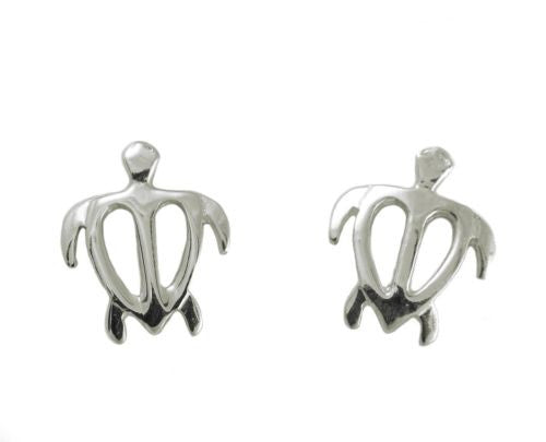 10.50MM SOLID 14K WHITE GOLD HAWAIIAN HONU TURTLE STUD POST EARRINGS MEDIUM