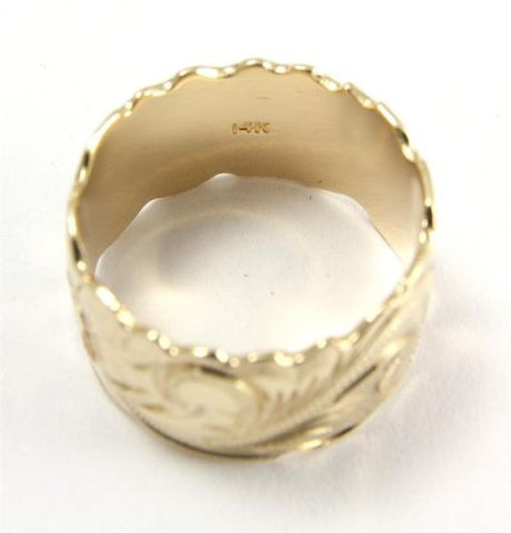 14K YELLOW GOLD HAND ENGRAVED HAWAIIAN PLUMERIA SCROLL BAND RING CUT OUT 15MM
