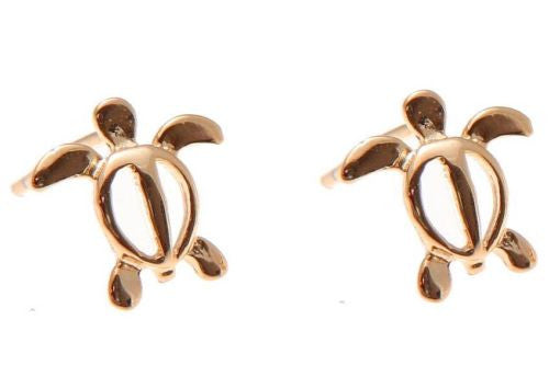 ROSE GOLD PLATED SILVER 925 HAWAIIAN HONU TURTLE STUD POST EARRINGS SMALL 10MM