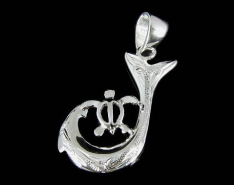 SOLID 925 STERLING SILVER HAWAIIAN SCROLL FISH HOOK HONU TURTLE PENDANT 13MM