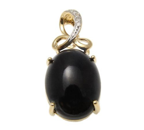 GENUINE NATURAL CABOCHON BLACK CORAL DIAMOND PENDANT IN SOLID 14K YELLOW GOLD