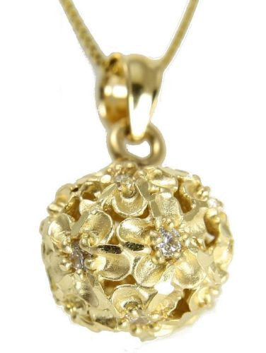 SOLID 14K YELLOW GOLD HAWAIIAN PLUMERIA FLOWER BALL PENDANT 10.75MM