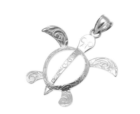 SOLID 14K WHITE GOLD HAWAIIAN SCROLL HONU TURTLE PENDANT SMALL MEDIUM LARGE