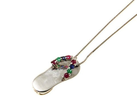 RUBY EMERALD SAPPHIRE DIAMOND 14K WHITE GOLD HAWAIIAN FLIP FLOP SLIPPER PENDANT