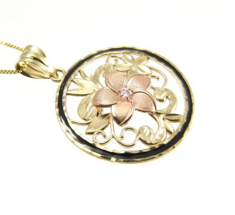 14K ROSE GOLD HAWAIIAN PLUMERIA FLOWER YELLOW GOLD BLACK ENAMEL BORDER PENDANT