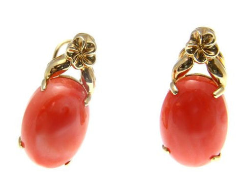 GENIUNE NATURAL PINK CORAL EARRINGS HAWAIIAN PLUMERIA 14K GOLD OMEGA FRENCH CLIP