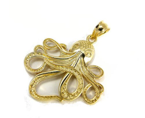 SOLID 14K YELLOW GOLD SHINY HAWAIIAN OCTOPUS CHARM PENDANT 21.50MM