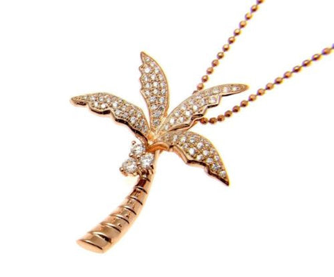 YELLOW ROSE GOLD PLATED RHODIUM SILVER 925 HAWAIIAN 3D PALM TREE SLIDE PENDANT