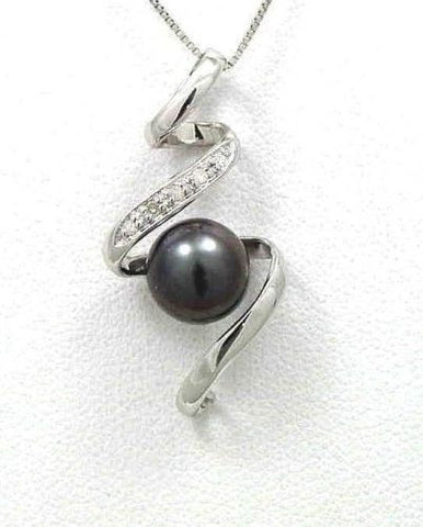 8.50MM GENUINE TAHITIAN PEARL & DIAMOND PENDANT SOLID 14K WHITE GOLD