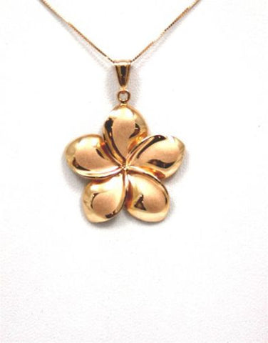 25MM SOLID 14K PINK ROSE GOLD HAWAIIAN FANCY PLUMERIA FLOWER PENDANT CHARM