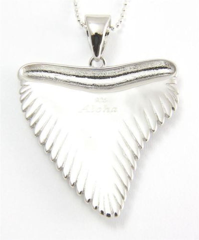 GENUINE INLAY HAWAIIAN KOA WOOD SHARK TOOTH PENDANT 33MM STERLING SILVER 925