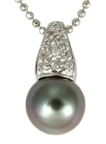 "8.35MM GENUINE TAHITIAN PEARL PENDANT SOLID 925 SILVER CZ (18"" CHAIN INCLUDED)"
