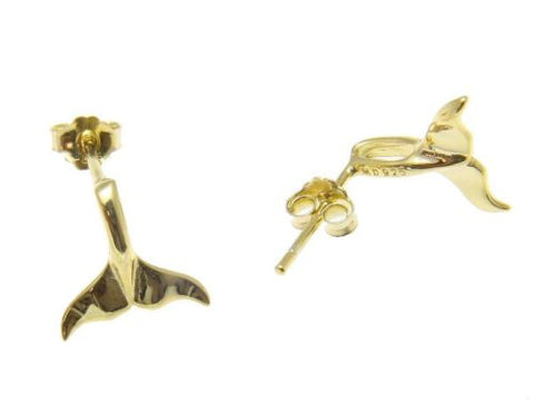 YELLOW ROSE GOLD PLATED RHODIUM SILVER 925 HAWAIIAN WHALE TAIL EARRINGS SMALL
