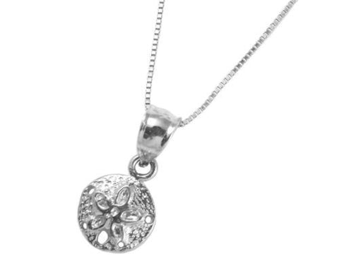 SOLID 14K WHITE GOLD HAWAIIAN SAND DOLLAR CHARM PENDANT SMALL 8.5MM