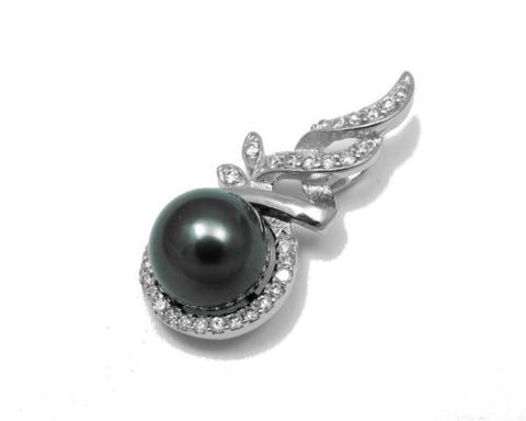 "10.29MM GENUINE TAHITIAN PEARL PENDANT SOLID 925 SILVER CZ (18"" CHAIN INCLUDED)"