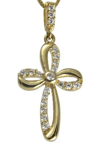 SOLID 14K YELLOW GOLD SPARKLY CLEAR CZ FANCY SHINY CROSS PENDANT SMALL 12MM